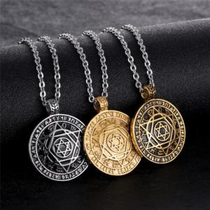 Star of David Talisman Key of Solomon Steel Pendant