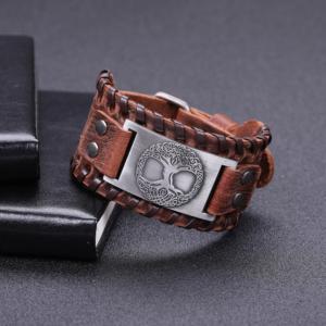 "Vintage Genuine  Leather Bracelet"" Tree Of Life"" Antique Silver  For Man"